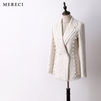 New arrival women fashion classic wool tweed blazer pearls buttons double breasted office lady wear outerwear long blazers