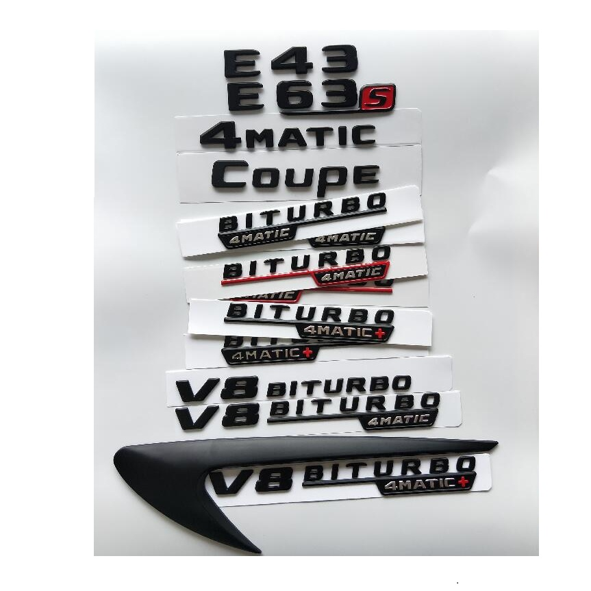 Black Letters E43 E53 E63 E63s V8 BITURBO 4MATIC+ Fender Trunk <font><b>Emblem</b></font> <font><b>Emblems</b></font> Badges for <font><b>Mercedes</b></font> Benz AMG W207 <font><b>W211</b></font> W212 W213 image