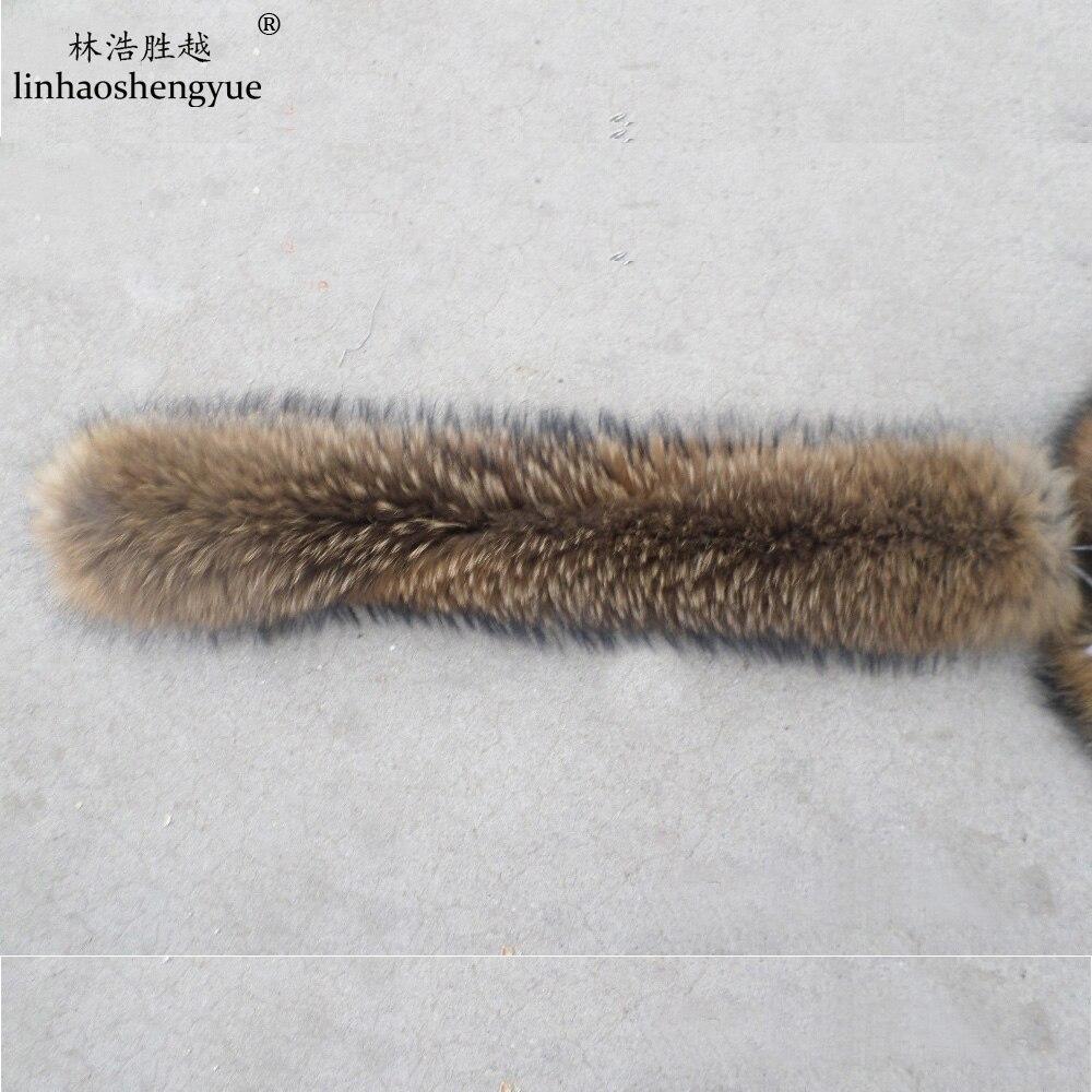 Linhaoshengyue 70 cm Winter Reale Natürliche waschbär pelz kapuze kragen, Hochwertige Waschbären pelz mode Mantel kragen kappe kragen