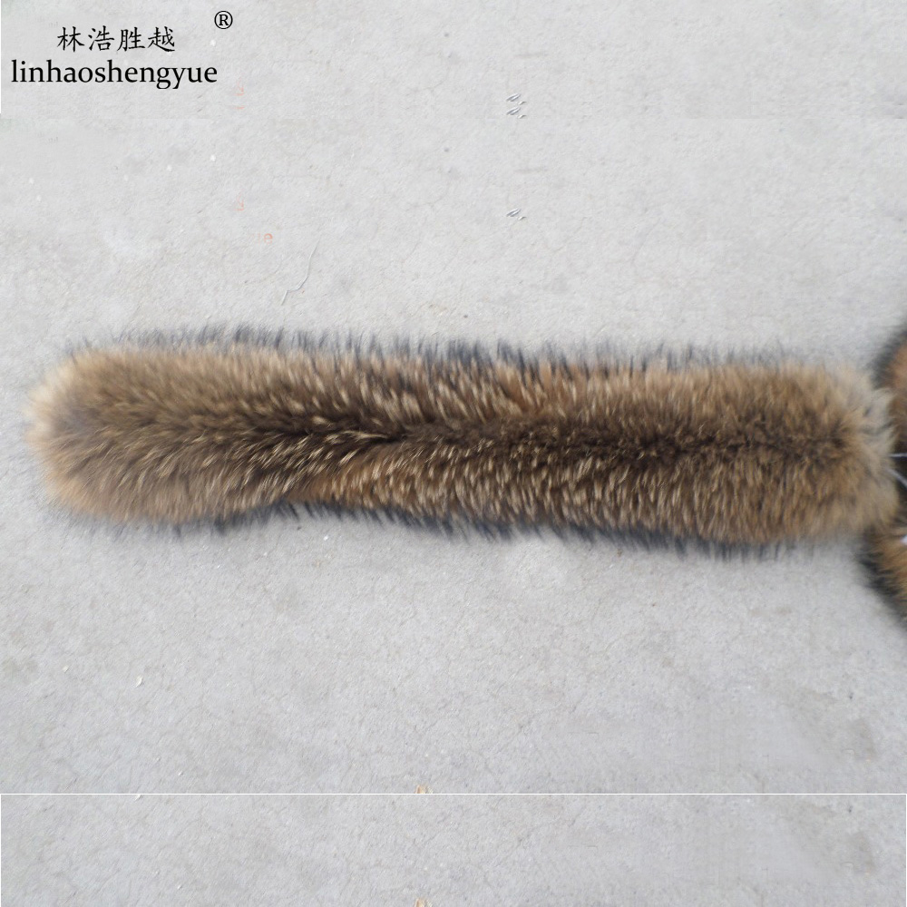 Linhaoshengyue 70cm  Winter Real Natural  Raccoon Fur Hood  Collar ,High-quality Raccoon Fur Fashion Coat Collar Cap Collar