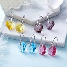 BAFFIN классические Висячие серьги, Висячие сердца, кристаллы от Swarovski, для женщин, серебряный цвет, серьги, ювелирное изделие для девушек, друзей, подарок