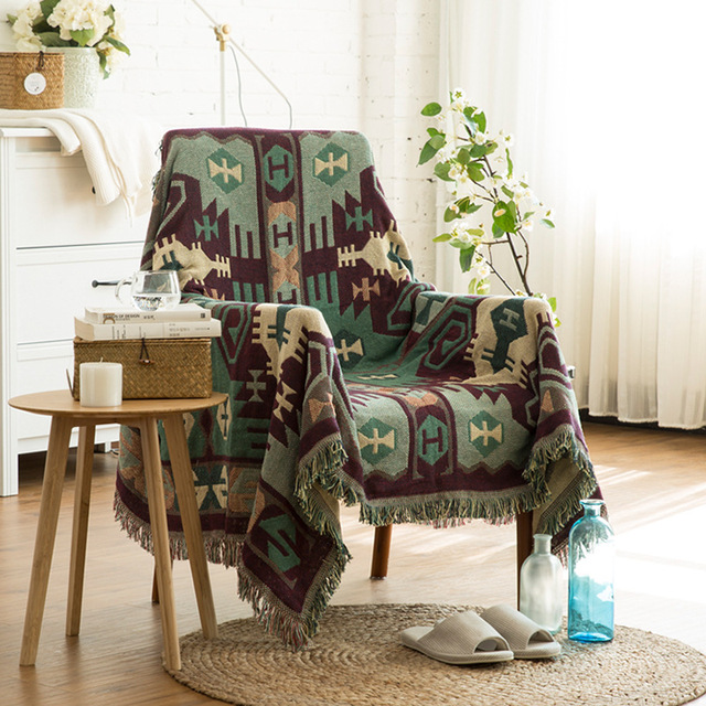 MDCT Vintage Green Cotton Thread Blanket Sofa Chair Throw Bed Piaon Cover  Travel Beach Tapestry Home