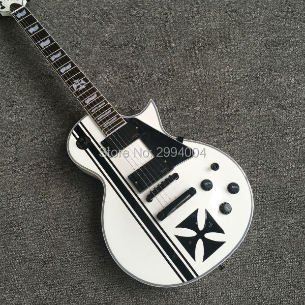 High quality China Musical Instrument EC 1000M Guitar Eclipse Electric Guitar Black Iron Cross In Stock For Shipping, цена