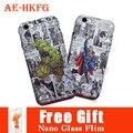 Новый Супермен Световой рельеф case для Iphone 6 4.7/5.5 Дюйма Batman капитан Америка задняя крышка для Iphne 6 S Халк protecter Для 6 S