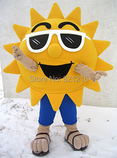 Summer Beach Sunshine Cool Joyful Sunglasses Sun Mascot Costume Custom Cartoon Character Mascotte Suit Kit