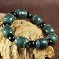 Girasoles de jade Natural de pulsera de los hombres y las mujeres de la manera granos redondos del jade pulsera tejida joyería regalos