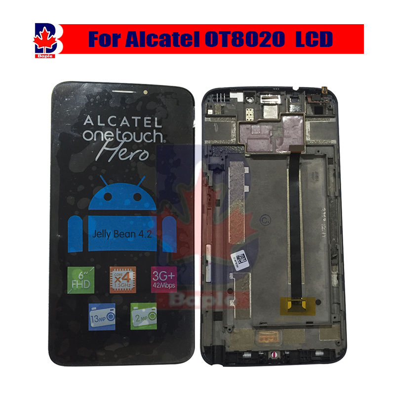 For Alcatel One Touch Hero OT8020 8020 8020D LCD Screen display and frame with Touch