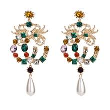 купить Dragon and Phoenix Pattern Dangle Earrings for Women Luxury Rhinestone Crystal Water Drop Pendant Drop Earrings ET426 дешево