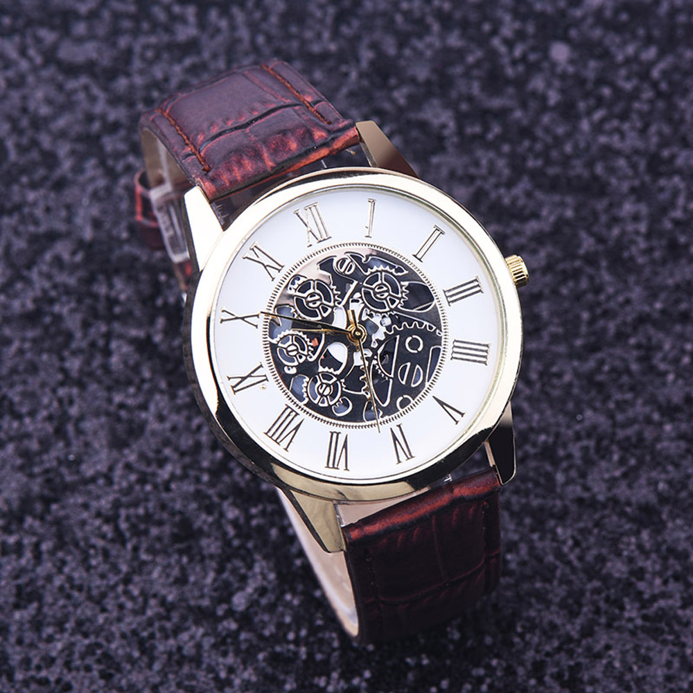 Watches Men Rreloj Hombre Golden Hollow Watch, Luxury Casual Steel Business Imitate Mechanical Watch Male Clock Relogio #1