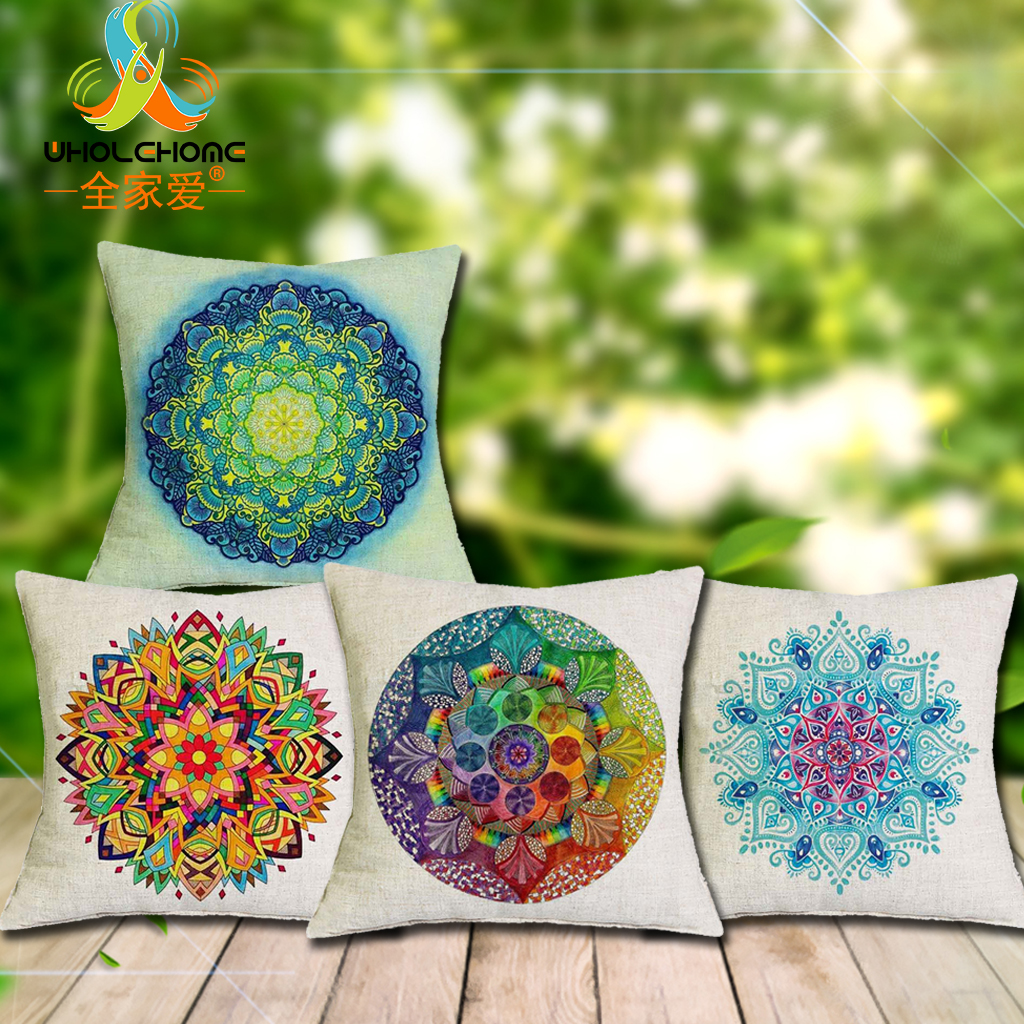 Cushion Cover Christmas Decoration Mandala Printed Pillow Cases Pillowcase Bedroom Sofa Decoration 43*43cm/17*17''
