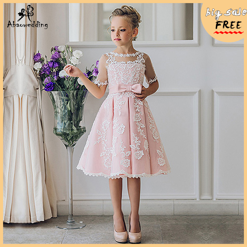Fancy Pink Flower Girl Dress with Appliques Half Sleeves Knee Length A Line Gown with Ribbon