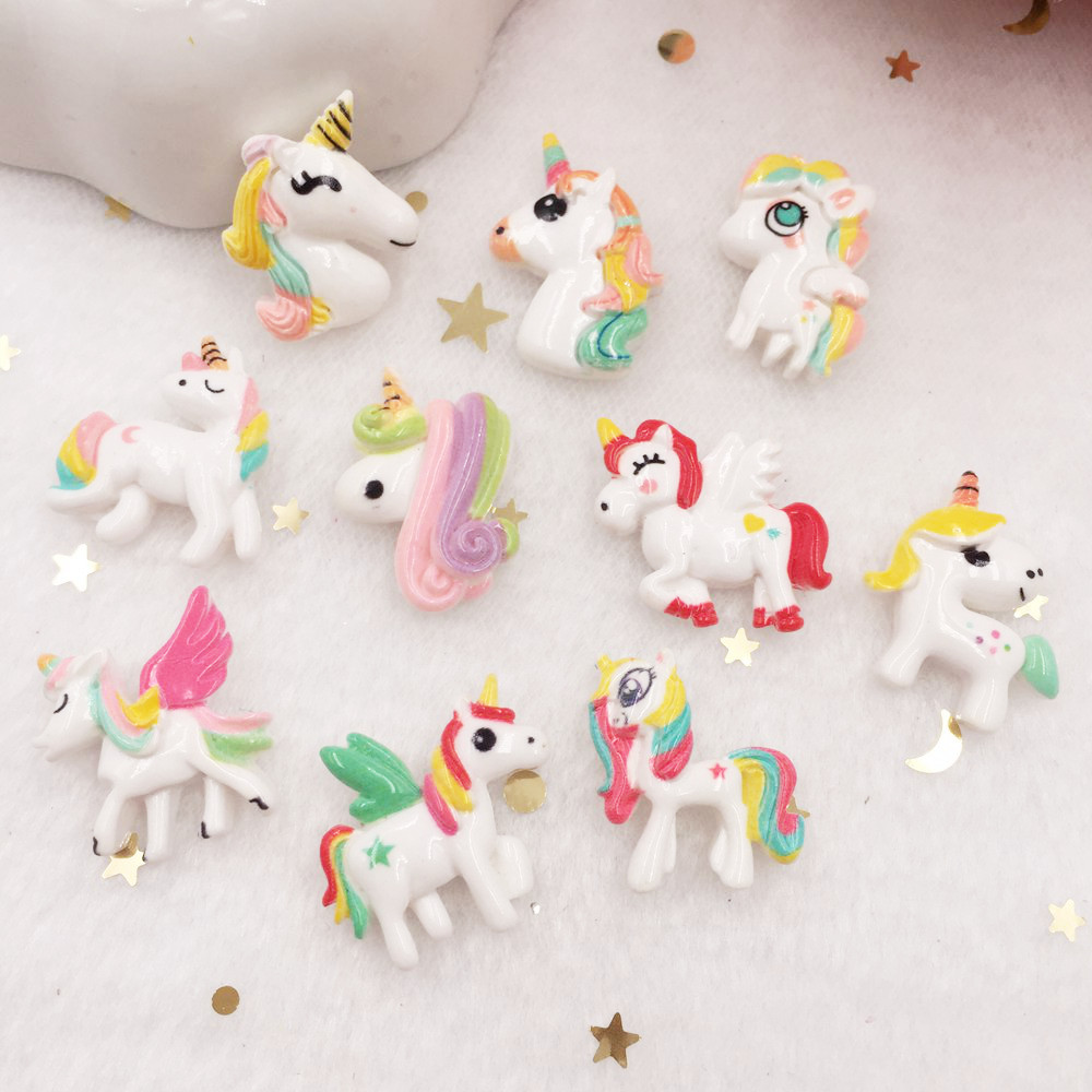 10pcs Lovely Resin 3D Colorful Unicorn Flat Back Cabochon Figurine Stone Embellishments Applique DIY Wedding Scrapbook Craft W67