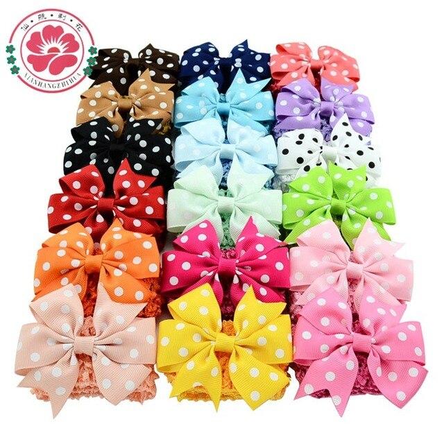 18pcs/lot  Double Usage Detachable Elastic Girls Bowknot  Headbands Polka Dots Bows Clip Turban Hair Accessories 593