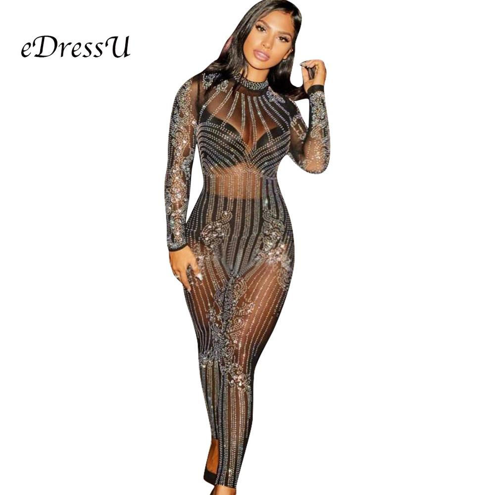 2019 Sexy Hot Jumpsuits Black See Through Rompers Glitter Sequins Beadings Women Playsuits Club Party Wear ME Q034 in Jumpsuits from Women 39 s Clothing