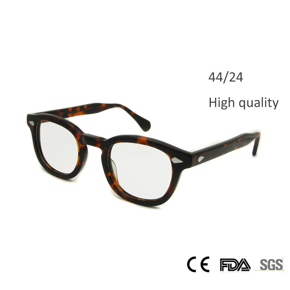 New High Quality Johnny Depp Glasses Fashion Style Round Retro Vintage Glasses Frame Men Hand Made Eyeglasses oculos de grau