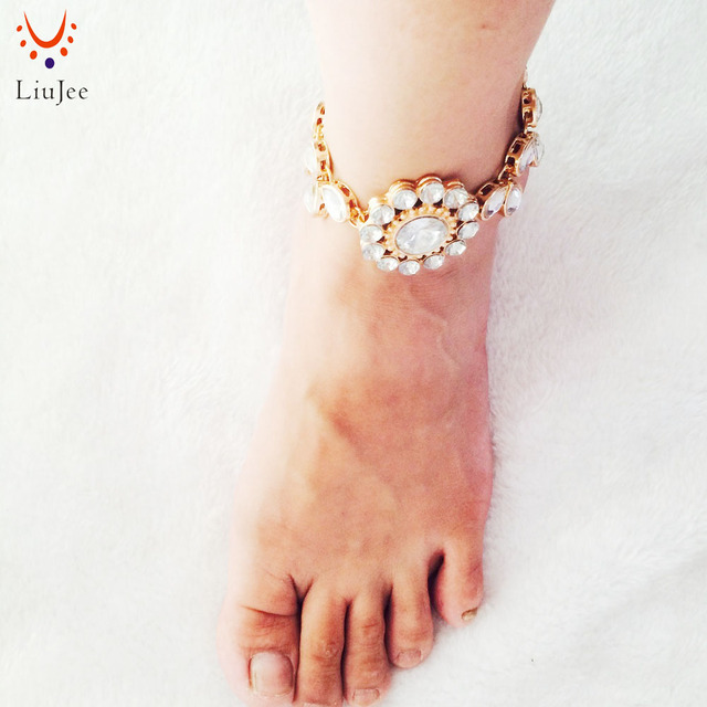 Liujee Boho Kundan stone Anklet Wedding Foot Jewelry Chain Barefoot