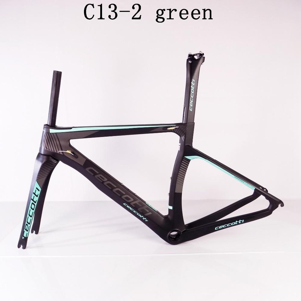 Ceccotti C13-2 green 3k/1K Toray T1100 road bike frame carbon PF30/BSA/BB30 frame road carbon china 2 years warranty цена
