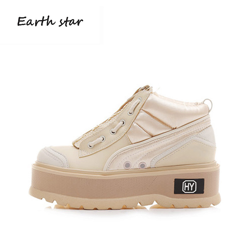 цены EARTH STAR Increasing Shoes Women Fashion Brand Platform Sneakers Lady Casual chaussure Autumn Female footware Girl White Shoe