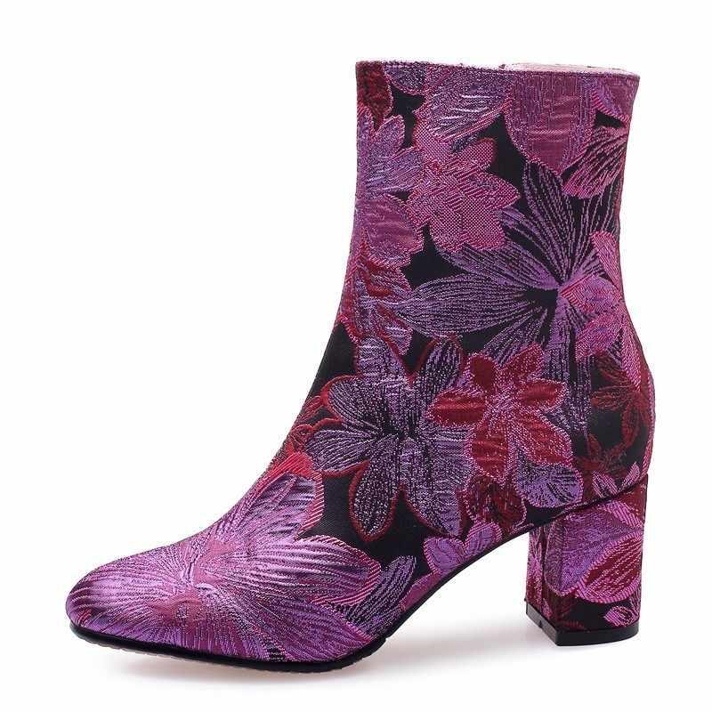 Ipek yarım çizmeler Kadın Sonbahar Kış Bayanlar Çiçek Yüksek Kalın Topuklu A277 moda ayakkabılar Kadın Altın Mor Gül Kırmızı kısa çizmeler