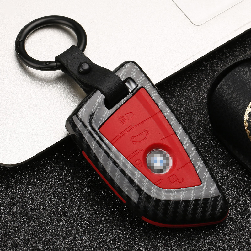 Carbon stripe Matte texture Car Key Cover Case For BMW X5 F15 X6 F16 G30 7 Series G11 X1 F48 F39 Keychain Car shell Car stying-in Key Case for Car from Automobiles & Motorcycles