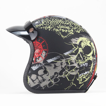 цена на NEW Open Face Half  Helmet Moto Motorcycle Helmets vintage Motorbike Casque Casco  good quality  helmet black