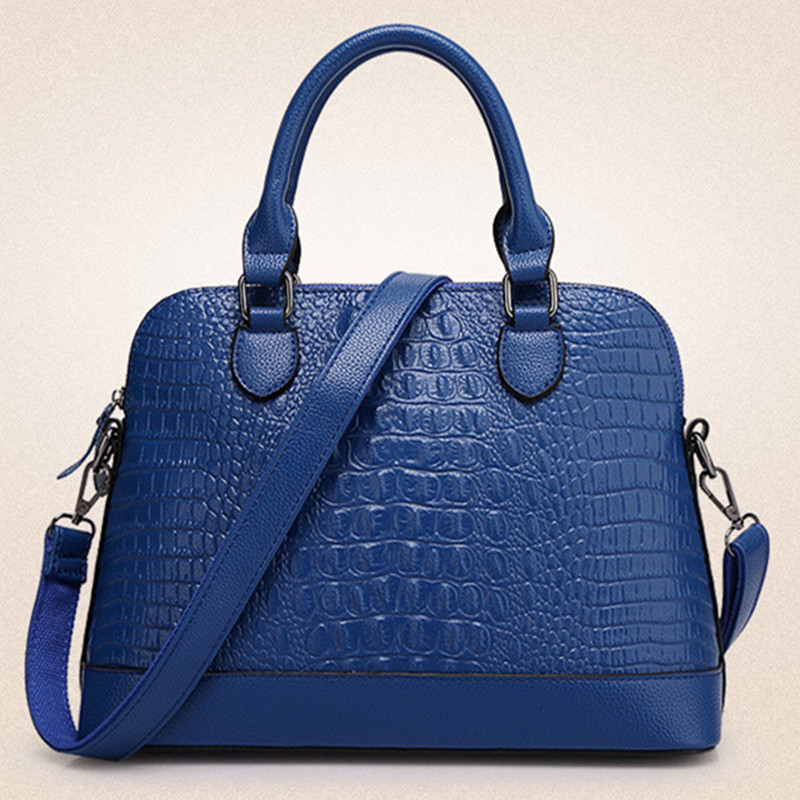 2018 new Big brand PU leather bag women fashion Leisure Crocodile pattern handbags female large shoulder bags Shells tote bag 2018 new crocodile pattern female large bag the first layer of leather luxury women s rectangular shoulder bag diagonal package
