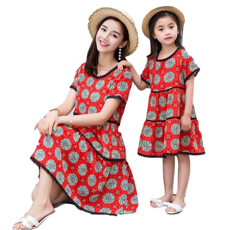 Été moyen Long Slim robe 2019 ligne coton robe fille mère heureux famille correspondant robe maman fille vêtements