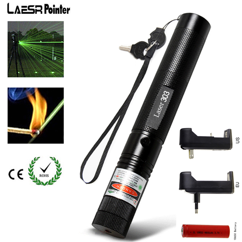 Powerful Military 5mW Green 303 Laser Pointer 532nm Lazer Pointer verde Pen Burning Beam Burn Match with 18650 Battery Charger