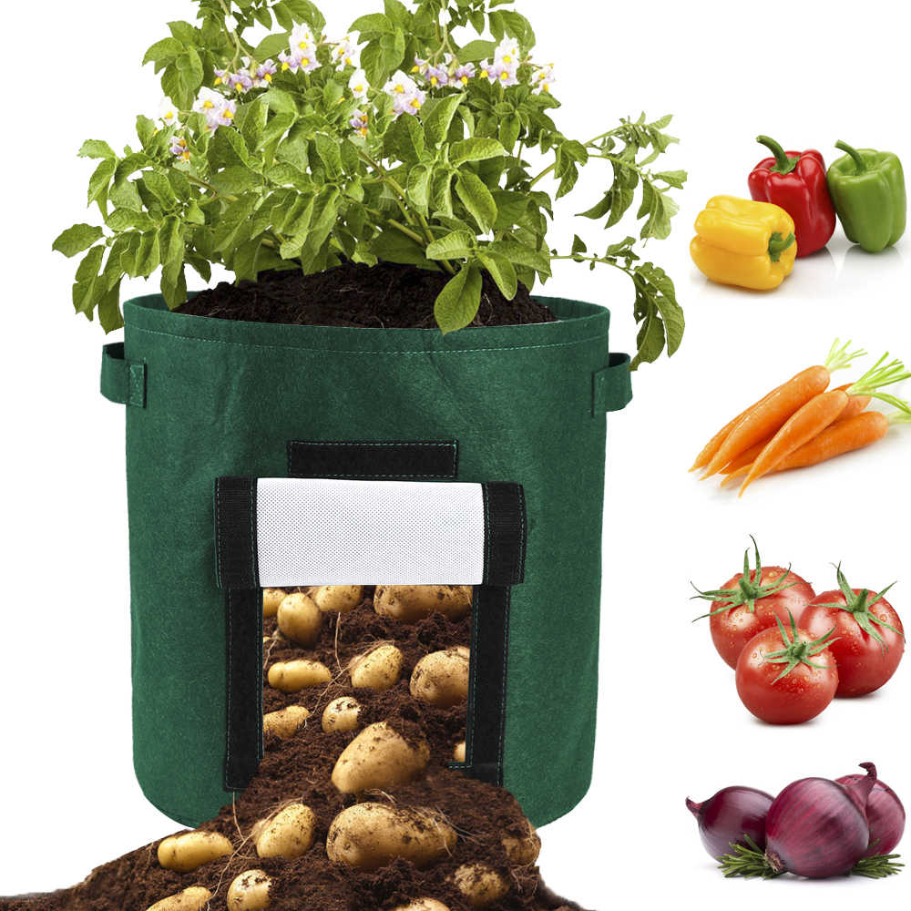 DIY Potato Vegetable Grow Planter PE Cloth Planting Container Bags Garden Pot