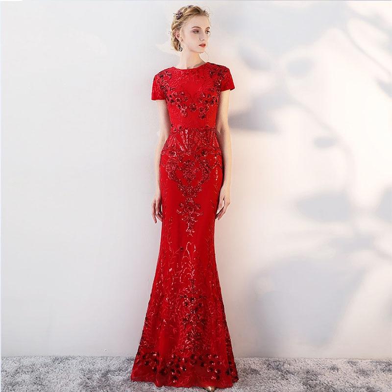 Кепки рукава Русалка Вечерние платья с круглым вырезом красный кружево длинное, узкое вечерние платья для женщин Формальные Вечерние платья 2019