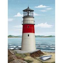 k088 painting diamond landscape, sea and lighthouse cross stitch, wish