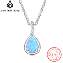 Blue Opal Necklace for Women 925 Sterling Silver Water Drop Opal Pendant Necklace Cubic Zirconia Fine Jewelry (Lam Hub Fong) стоимость