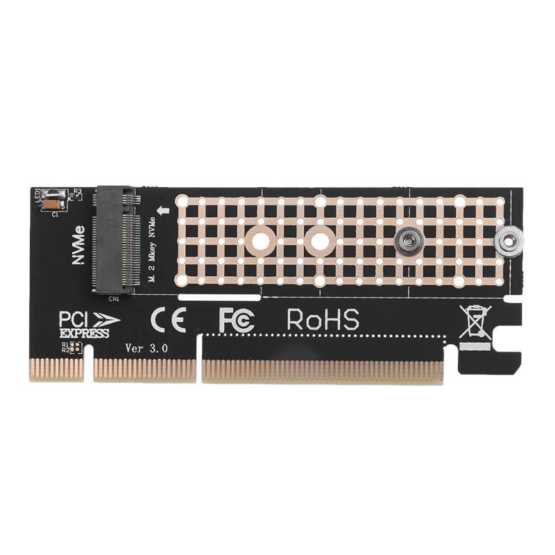 PCI-E M.2 NVMe SSD to PCI-E 3.0 16x M Key Port Adapter HDD Extender Expansion Card Connector Extender Converter Board Black 20g
