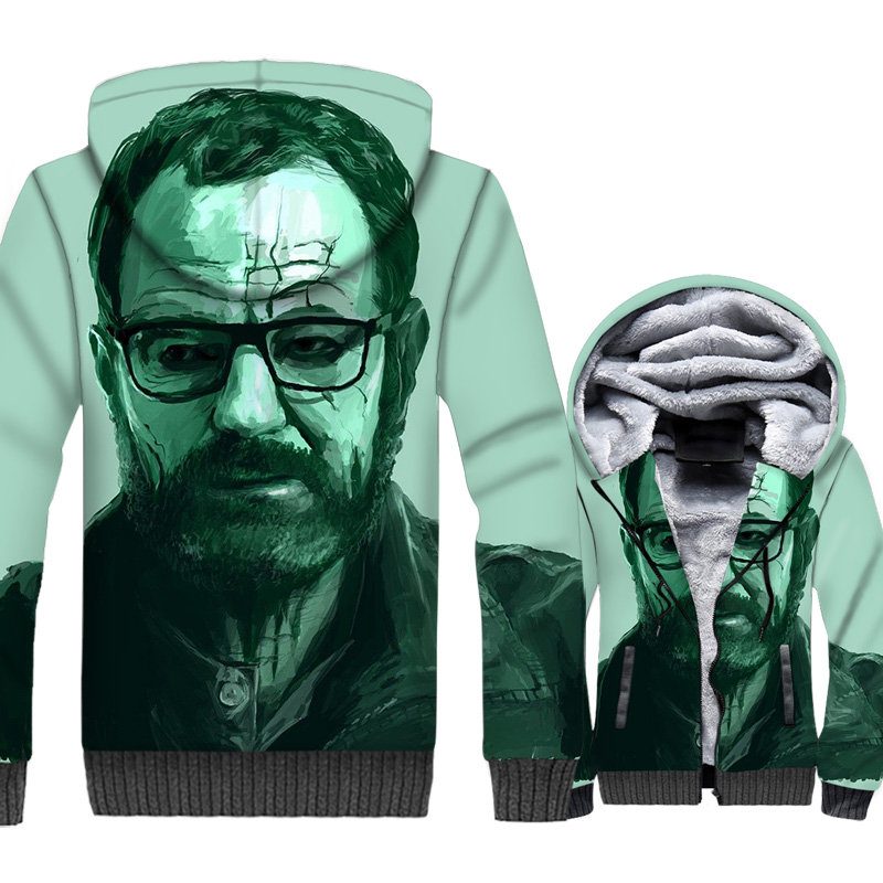 Breaking Bad Jacket Heisenberg Hoodies Men Walter White Sweatshirt Winter Thick Fleece 3D Print Coat Hip Hop Streetwear Homme in Jackets from Men 39 s Clothing