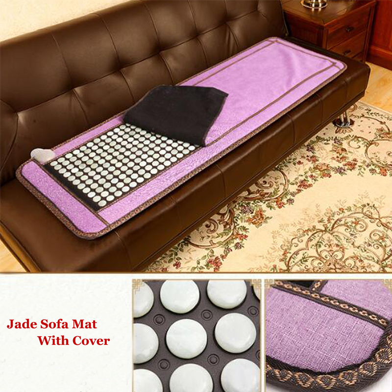 Natural Heating Jade Mat Thermal Massage Heat Cushion for Health with Cover Size 50*150CM 2016 products health care for elderly people natural germanite stone massage bed cover cushion 3 size for you choice