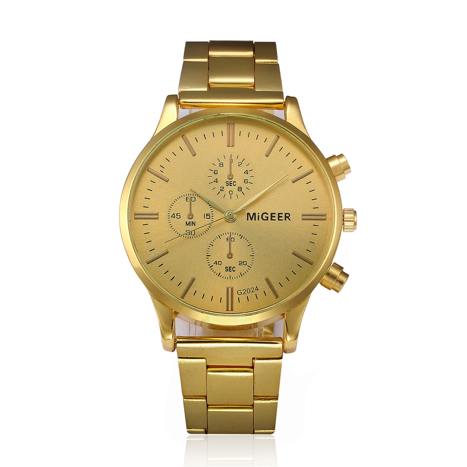 Fashion Golden Stainless Steel Quartz Wrist Watch Mens Watch Crystals Chronograph Plated Classic Wristwatch Montre pour homme