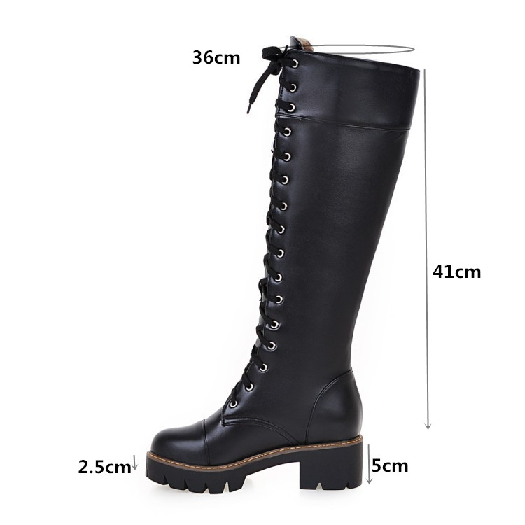 c64bc9770ad48 PXELENA Rome Retro Lace Up Knee High Martin Boots Women Shoes Chunky Square  Med Heels Riding Knight Military Combat Long Boots-in Knee-High Boots from  Shoes ...