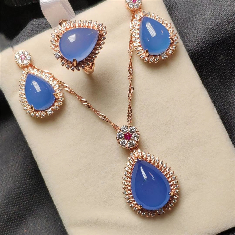 Koraba  925 Sterling Silver Rose Gold Natural Sapphire Jade Gemstone Drip Pendant Necklace Bracelet Earrings Women Jewelry SetKoraba  925 Sterling Silver Rose Gold Natural Sapphire Jade Gemstone Drip Pendant Necklace Bracelet Earrings Women Jewelry Set