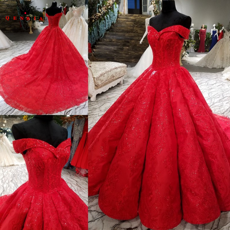 Custom Made Princess Cap Sleeve Red Lace Crsytal Beaded Luxury   Evening     Dresses   100% Real   Evening   Gown 2018 Vestido De Festa KC34
