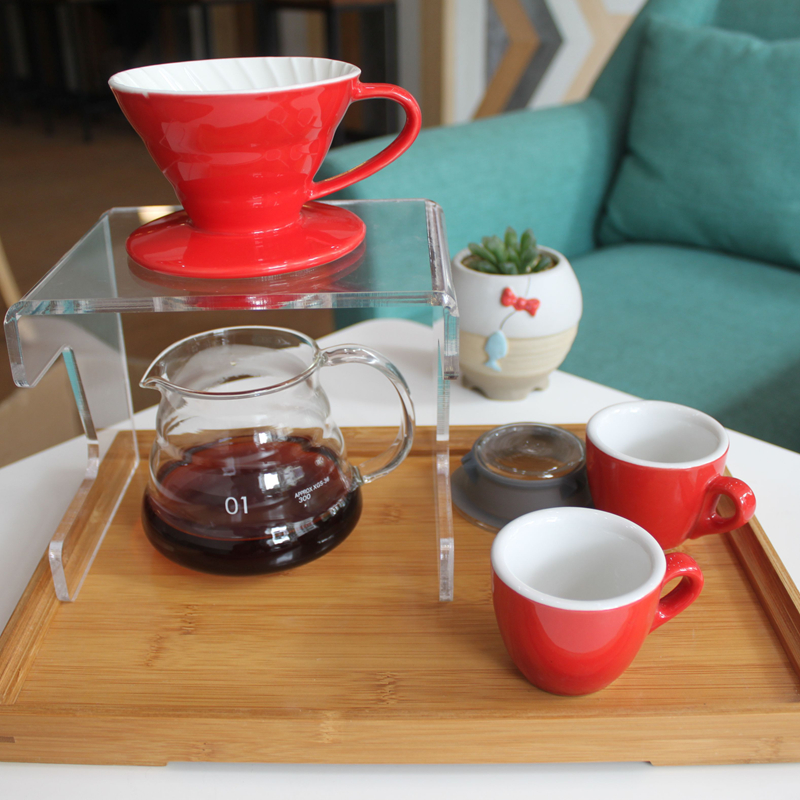V60 hand drip Coffee percolators set for couple 1 dripper + 1 server+ 2 cups+ 1 bamboo tray + 1 rack for brewer and cafe