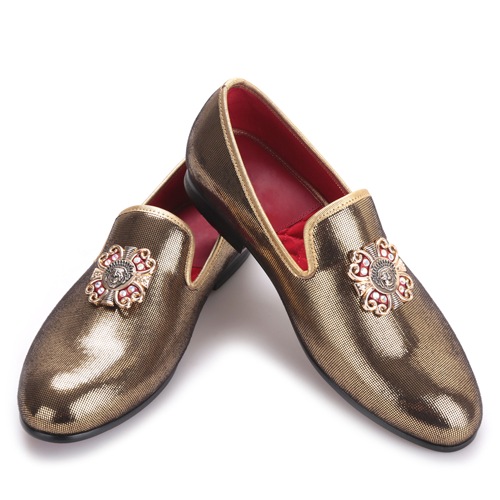 Gold handmade men gold PU shoes with gold cross Charm Party and wedding men dress shoes Plus size men's loafers
