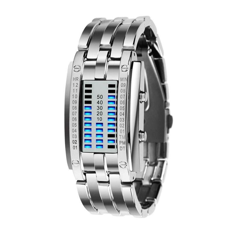 Future Technology Binary Watch Men's Women Black Stainless Steel Date Digital LE
