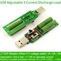 Resistencia USB carga electrónica dc Con El interruptor ajustable 3 corriente 5V1A/2A/3A batería capacidad de descarga de voltaje resistencia probador