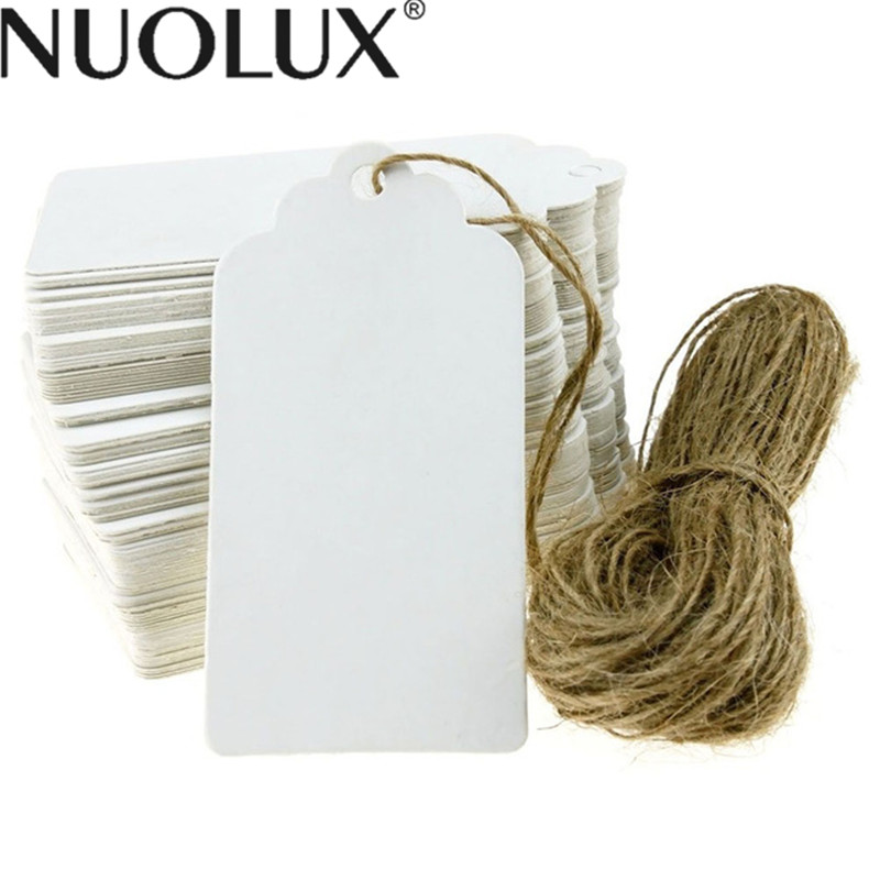 100pcs 90*45mm Scalloped Blank Kraft Paper Card / Wedding Favour Gift Tag / DIY Tag / Luggage Tag / Price Label with 20M Rope