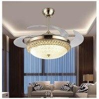 Современные Обеденная светодиодный 110 240 VCeiling вентилятор Ресторан Кухня творческий потолок вентилятор с огнями дома светильники лампы