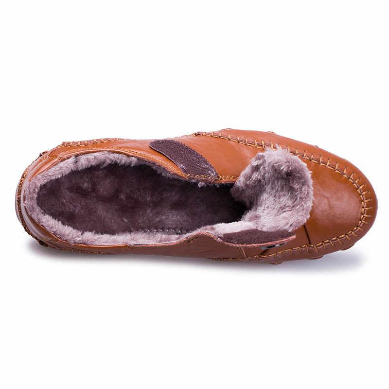 Kış kürk gündelik erkek ayakkabısı erkek mokasen ayakkabıları İngiliz tarzı hakiki deri ayakkabı erkekler Flats Moccasins erkek sürüş ayakkabısı ayakkabı