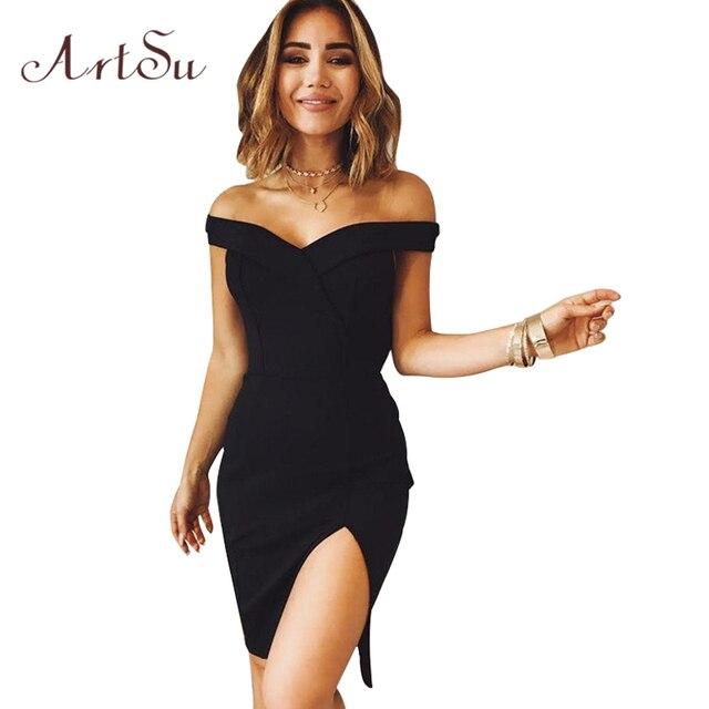 ArtSu Women Elegant Dress Sexy Off Shoulder Female Slim Party Club Dresses  Autumn Bodycon Pencil Split 28b1ae5ef1b6