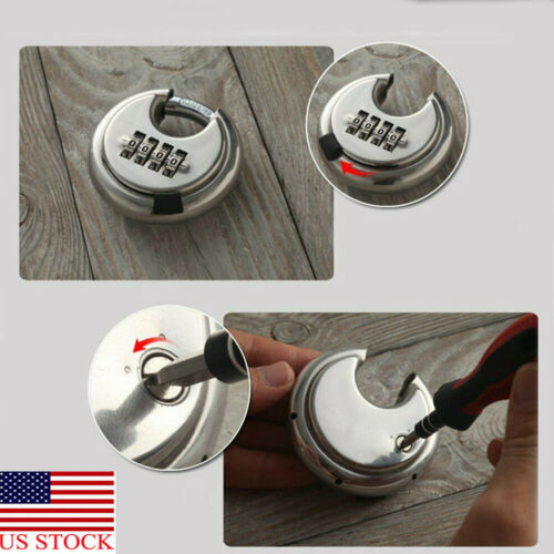 Security Padlock Silver Steel Alloy 4 Digit Combination Master Round Shape Disc Lock For Locking Doors Windows Bags Trunk