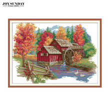 Joy Sunday Cross Stitch Scenery Mill Patterns Aida Fabric 14ct 11ct DMC Threads Counted Canvas for Embroidery Kit DIY Needlework