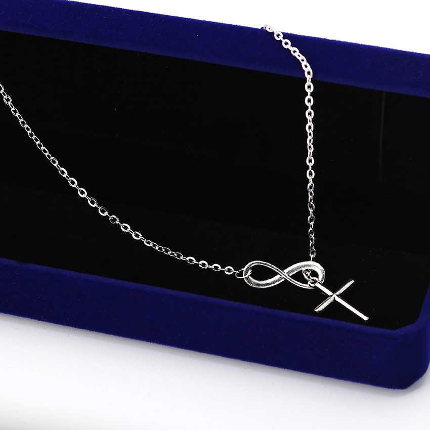 ホット販売新ミニマリスト無限大記号幸運 8 クロスペンダントネックレス女性のための鎖骨ジュエリー